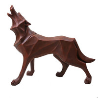 The New Nordic Wolf Dog Decorative Statue Abstract Totem Geometric Resin Crafts Gift Animal Sculpture Home Decoration Accessorie