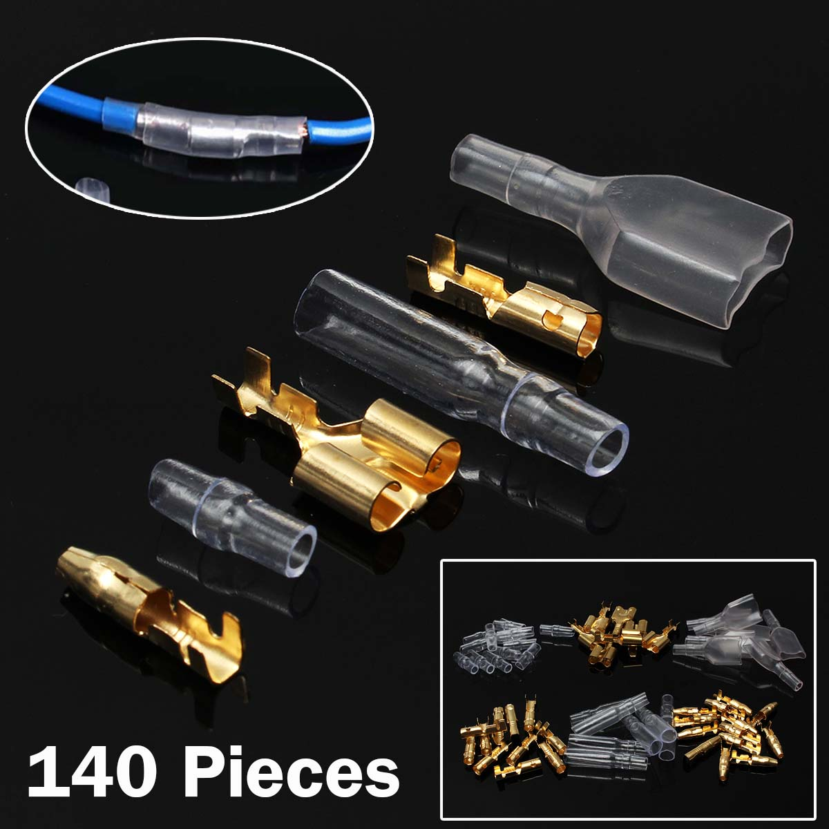 140 Pieces 3.9 mm SWILET Male Female Double Motorcycle Car Bullet Connector Set Terminals Insulation Cover Electrical Equipment 144pcs 2 8mm electrical connector automotive motorcycle brass bullet connectors terminals repair kits with insulation covers