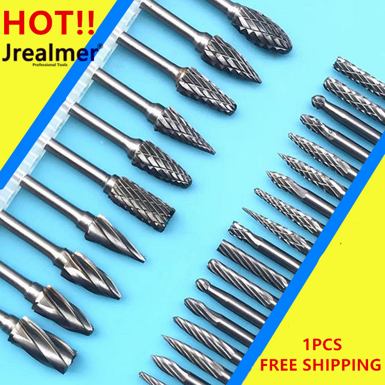 Jrealmer 5pcs/lot Tungsten Carbide Rotary Burrs 3mm Rob Head 3-6mm DIY Milling Cutter Tungsten Carbide Burr Dremel Tools