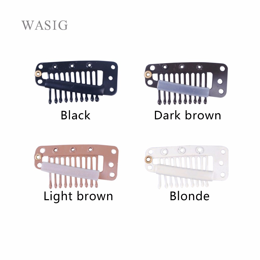 Nice Wigs Hair Clips 50pcs 36mm 10 Teeth Snap Clips With Silicone Back For Extension Hair Accessories 4 Colors Available 100% High Quality Materials Hair Extensions & Wigs
