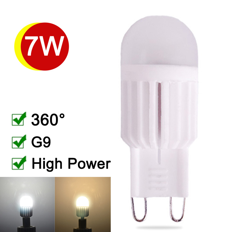 Dimmable G9 LED Light Bulb 7W 220V Ceramic LED G9 Lamp 360 Degree Lustres De Sala LED G9 Corn Bulb High Quality Warm/Cold White pf 0 95 e40 led high bay light lamp 27w 5730 5630smd 360 degree warm cold white ac110v 220v 230v 240v 85v 265v 2pcs lot