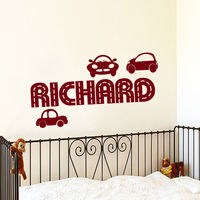 Wall Decal Boys Nursery Sticer Name Decals Racing Car Auto Bedroom Decor