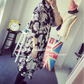 2015 Summer Styel New Fashion Chiffon Flower Beach Sun UV Protection Women Floral Long Blouse