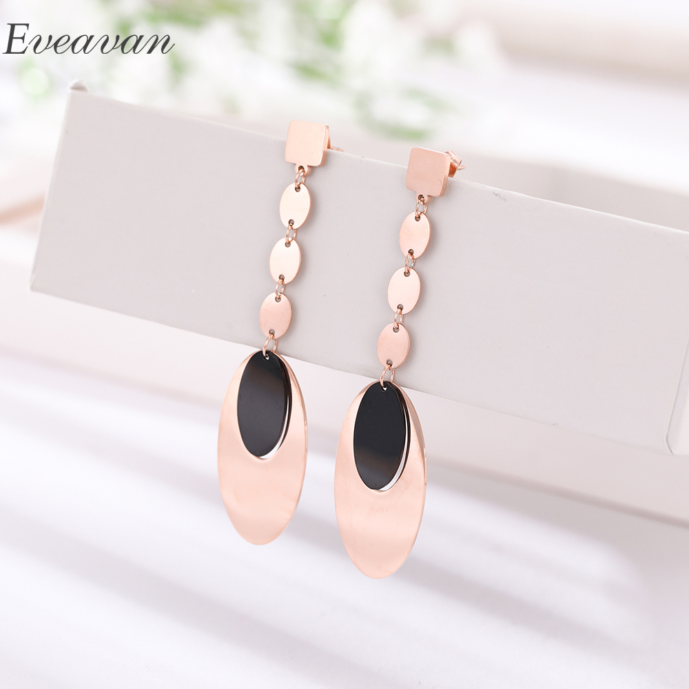 EUEAVAN 5 Pairs Rose Gold Color Combined Oval Long Drop Dangle Earrings Trendy Jewelry For Women Teen Girls