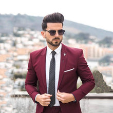 Burgundy Business Men Suits for Wedding Casual Man Jacket Groom Tuxedos Best Blazer 2Piece Slim Fit Costume Homme