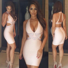 2015 New Women's V Neck Bandage Dress Bodycon Dress Party Dress Pink Hl1011# Xs S M L