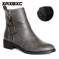 XAXBXC 2017 Retro Brogues Genuine Leather Skull Zipper Buckle Short Ankle Boots Women Winter Boots Handmade
