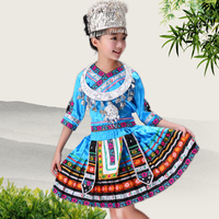 Chinese Traditional Hmong Costume Peacock Embroidered Ruffle Skirts Clothing Sets Miao Dance Costumes Dress Perform Dance Wear