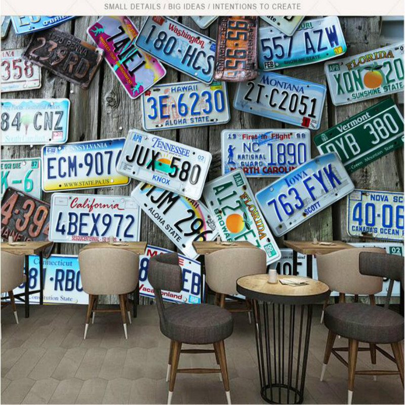 3D Wallpaper for Bar KTV Wall Paper Decoration Background Painting Retro nostalgic license plate Mural Wallpapers customized size aircraft tanks 3d battlefield photo mural for wall war theme room net bar ktv background decoration 3d wallpaper