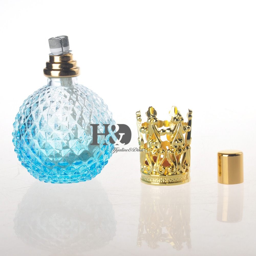 Empty Light Blue Perfume Bottle With Gold Capsule Refillable Perfume Glass Bottle empty death