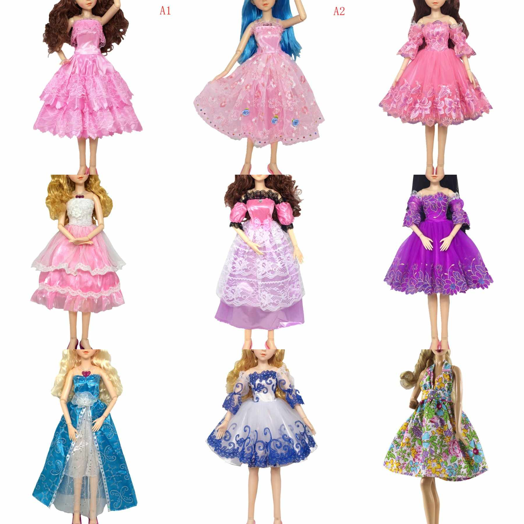 1PCS Pink/blue Handmade Doll Long Dress Clothes Evening Wedding Dress Party Dresses For 1/3 bjd 60cm Doll Accessories