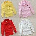 Qualidade superior meninos meninas vermelho branco liso camiseta para crianças criança grande menino roupas crianças camisetas de manga longa de algodão camisa pólo