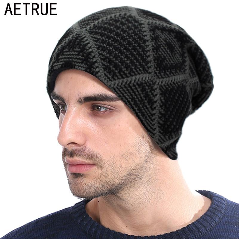 AETRUE   Skullies     Beanies   Knitted Hat Men Women Winter Hats For Men Fashion Male Warm Baggy Thick Bonnet Mask Plaid   Beanie   Hat Cap
