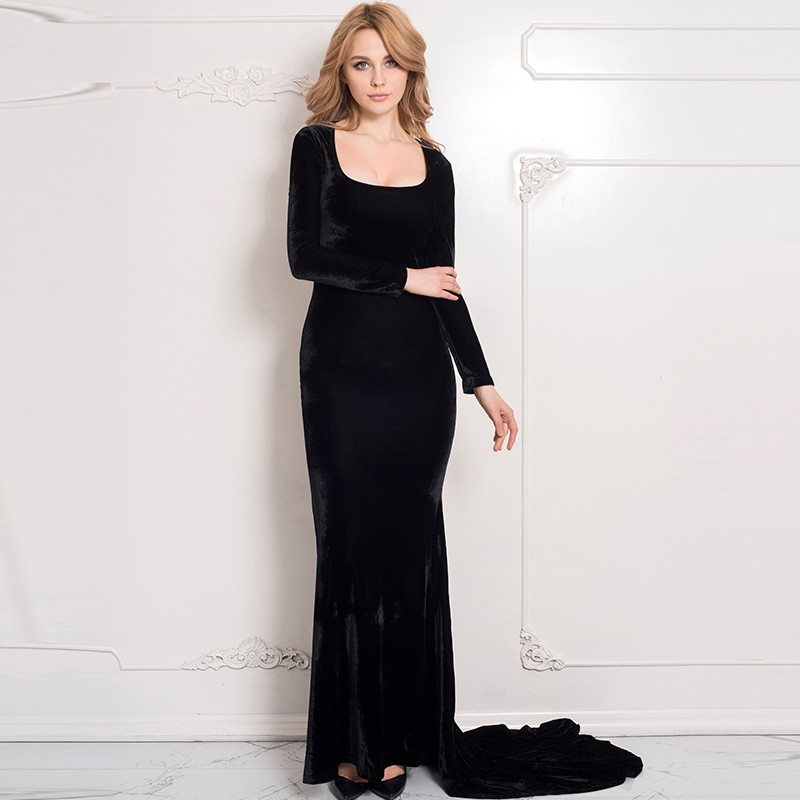 70214 Wholesale and Retail Black Dress Long Sleeve Back Transparent Fashion  Women Autumn Dress Floor length Maxi Dress Plus Size-in Dresses from Women s  ... b4cef5e49
