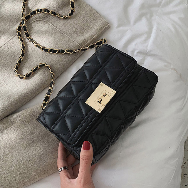 ETAILL 2019 PU Leather Women Messenger Bag Plaid Ladies Crossbody Bag Gold Chain Trendy Candy Color Small Flap Quilted Bags