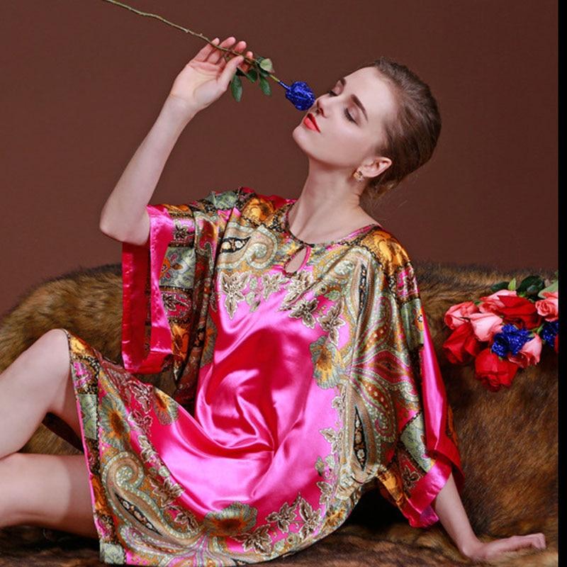 2017 Summer Women Nightgowns Rayon Silk Pyjamas Femal Night Shirt Short Sleeve Plus Size Nightgowns Sleep Dress Home Sleepwear