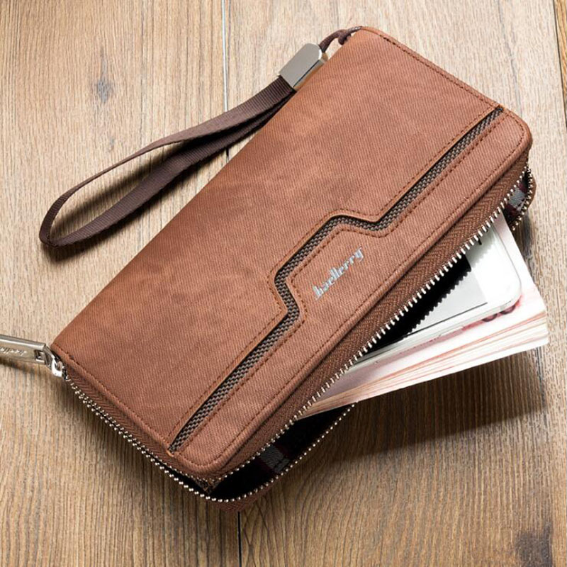 Baellerry Top Quality Leather Long Wallet Men Walet Male Clutch Zipper Around Wallets Men Phone Purse Money Bag with Coin Pocket цена 2017