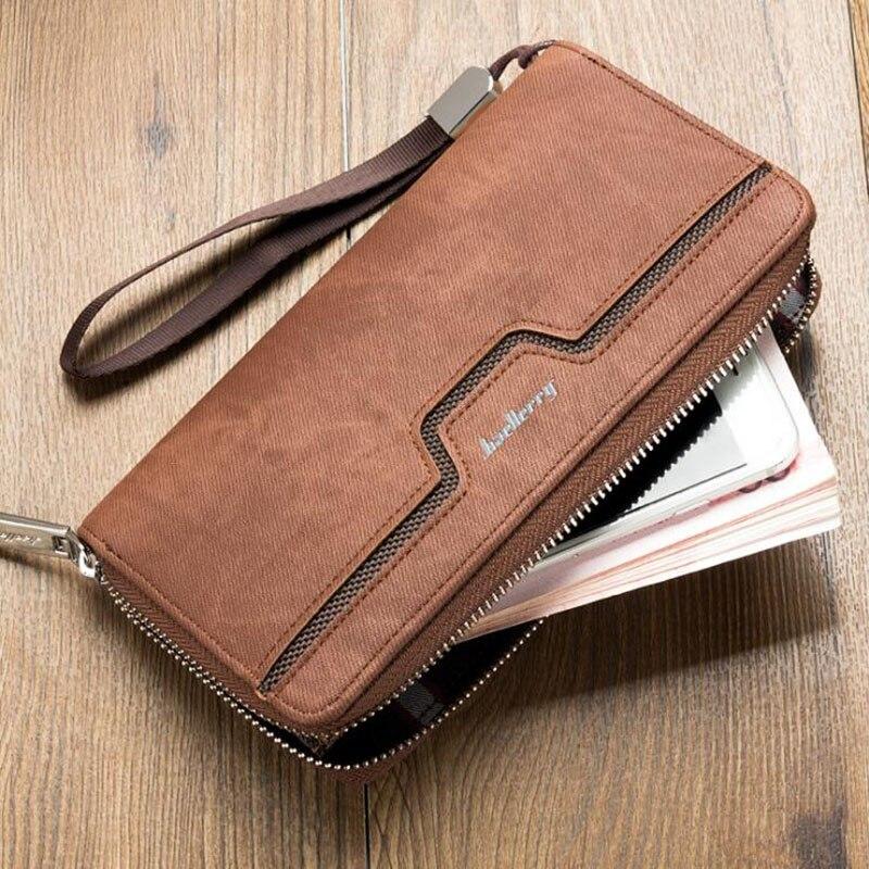 Baellerry Top Quality Leather Long Wallet Men Walet Male Clu