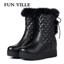FUN VILLE 2018 Autumn Winter Women's Snow Boots Fur Warm Ankle Boots PU Leather High Heel Boots Sweet Thick Platform shoes Woman цена 2017