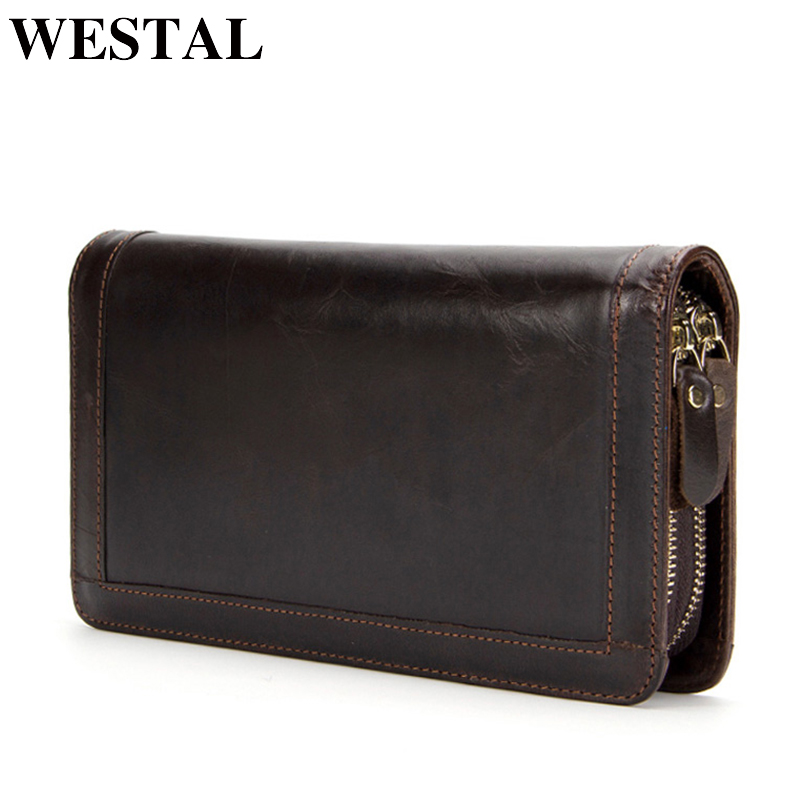 WESTAL Wallet Men Genuine cowhide Leather Coin Purse Card holder clutch male wallets for credit Clutch bag Zipper Vintage 9013 westal genuine leather wallet male clutch men wallets male leather wallet credit card holder multifunctional coin purse 3314