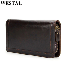 WESTAL Wallet Men Genuine cowhide Leather Coin Purse Card ho