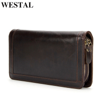 WESTAL Wallet Men Genuine cowhide Leather Coin Purse Card holder clutch male wallets for credit Clutch bag Zipper Vintage 9013
