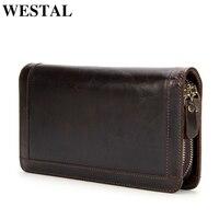 WESTAL Wallet Men Genuine cowhide Leather Coin Purse Card holder clutch male wallets for credit Clutch bag Zipper Vintage 9013
