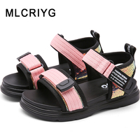 New 2019 Summer Kids Princess Sandals Baby Girls Beach Sandals Children Glitter Sandals Boys Sequin Fashion Shoes Brand Sandals
