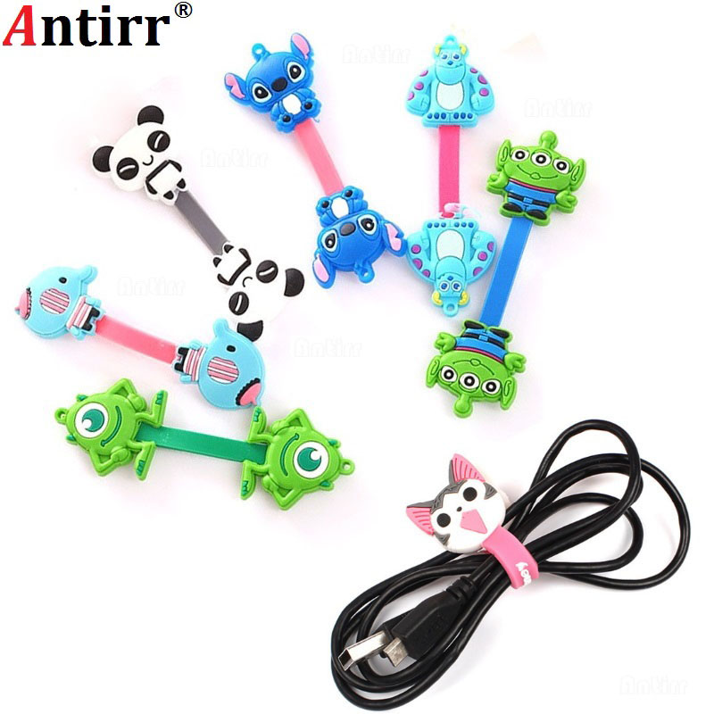 Cute Animal Cartoon Charger Cable Bobbin Winder Data Line Earphone Wire Cord Organizer Management Fastener Holder Button Fixer