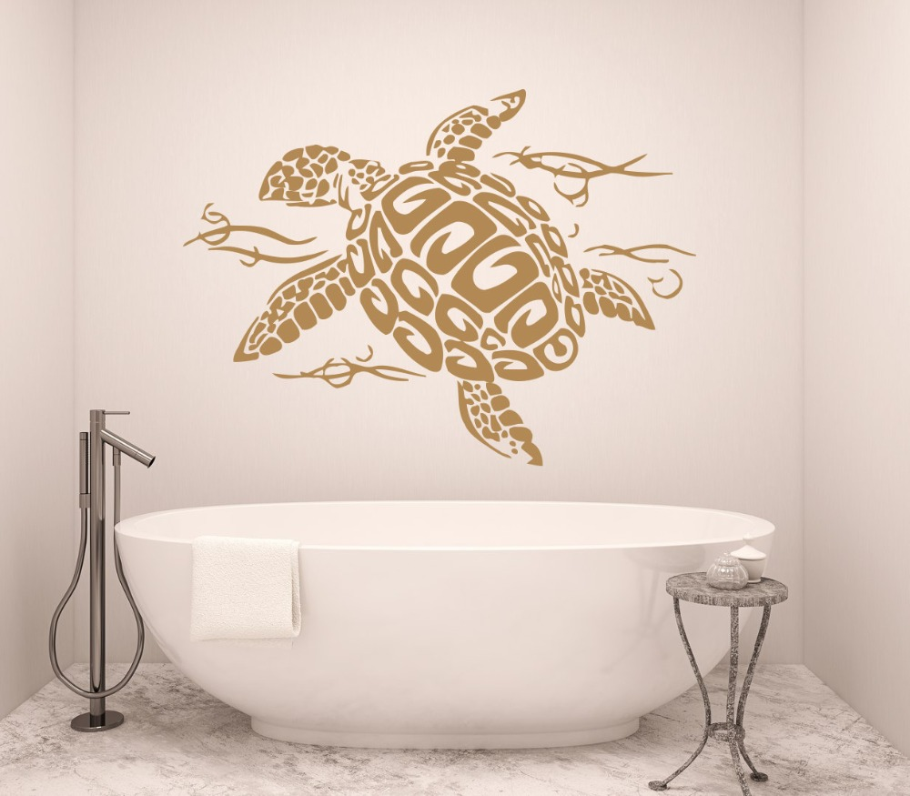 Oceanturtle Wall Decal Tortoise Vinyl Sticker Turtle Sea Animal Ocean Nautical Decor Bathroom Bedroom Art Decorative M 109