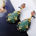 Best seller ! Huge inventory of Antique and Vintage Victorian earrings Jade green color stone Attractive looking earrings