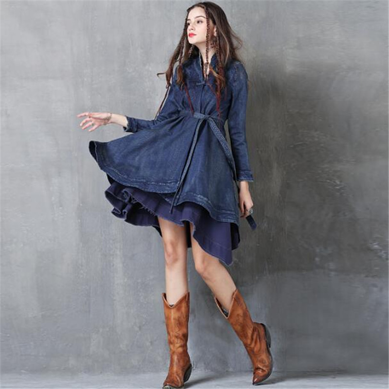 Broderie femmes automne nouvelles ceintures Denim robe Vintage à manches longues Empire taille Jean robe pour femme Ma5033