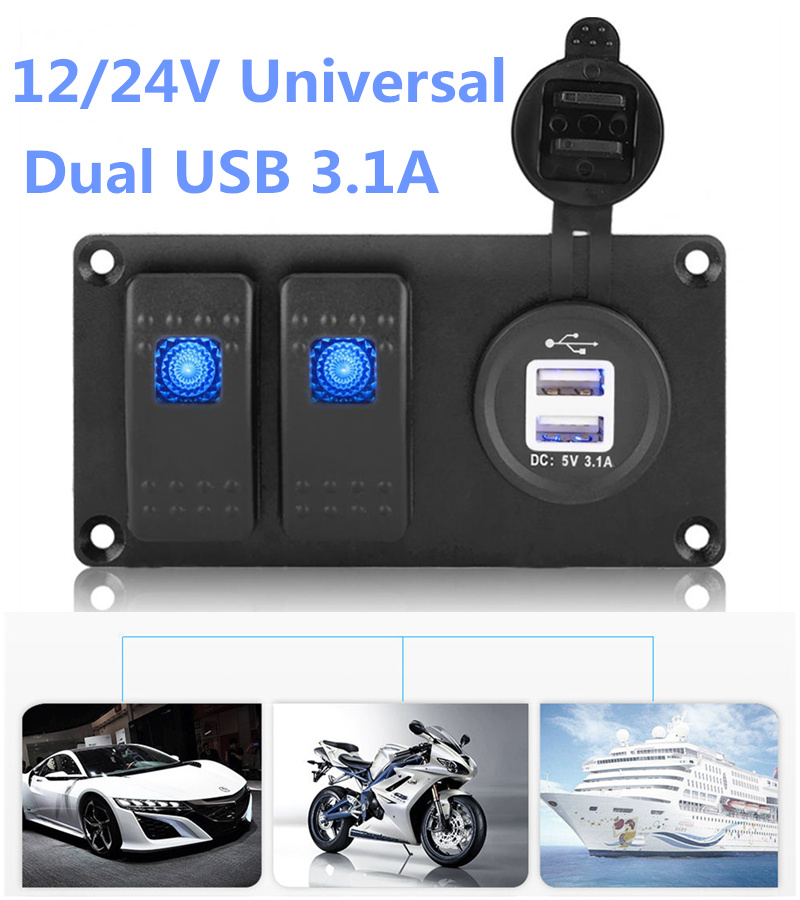 Universal Auto ATV Marine Boat 12V/24V 2 Gang Switch Panel Circuit Blue Led Rocker Breaker Car Waterproof Switches Controls