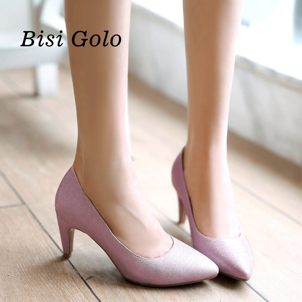 New fashion pointed toe women shoes 2016 purple high heel pumps women spring summer gold prom shoes women ladies heels new 2017 spring summer women shoes pointed toe high quality brand fashion womens flats ladies plus size 41 sweet flock t179