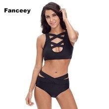 Fanceey Bandage Bikini Set Cintura Alta Maiô de Duas Peças Mulheres Mujer Biquini Halter Alta Pescoço Push Up Sexy Maiô