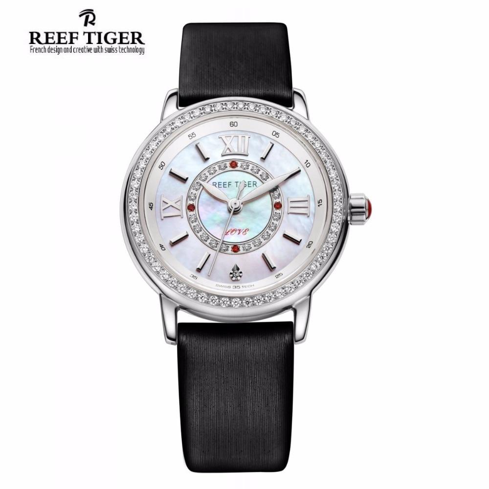 Reef Tiger/RT Popular Elegant Watches for Women Ronda 763 Quartz Diamonds Watch with MOP Dial Calfskin Leather RGA1563 2x yongnuo yn600ex rt yn e3 rt master flash speedlite for canon rt radio trigger system st e3 rt 600ex rt 5d3 7d 6d 70d 60d 5d