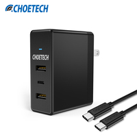 CHOETECH Cargador USB Universal para Samsung S8, 39 W Tipo C + Dual USB Adaptador de Viaje Cargador de Pared para el iphone Cargador de Teléfono Móvil