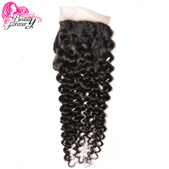 Beauty Forever Peruvian Curly Lace Closure Hair Remy Human Hair 4*4 Middle Part Closure 120% Density Natural Color