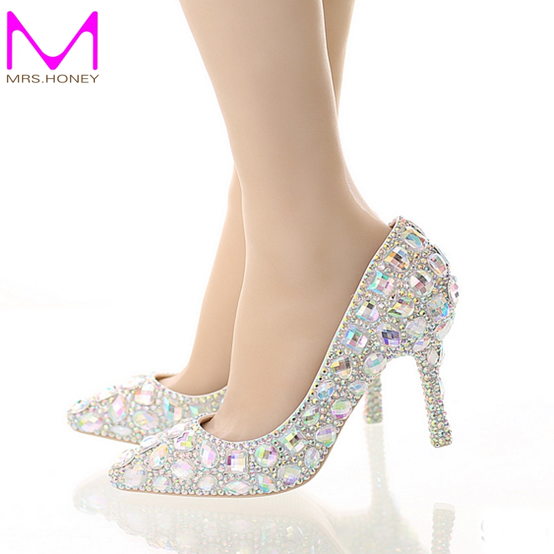 ФОТО Crystal Wedding High Heel Shoes Glitter AB Color Performance Party Shoes Pointed Toe Party Prom Pumps Bling Bling Women Shoes