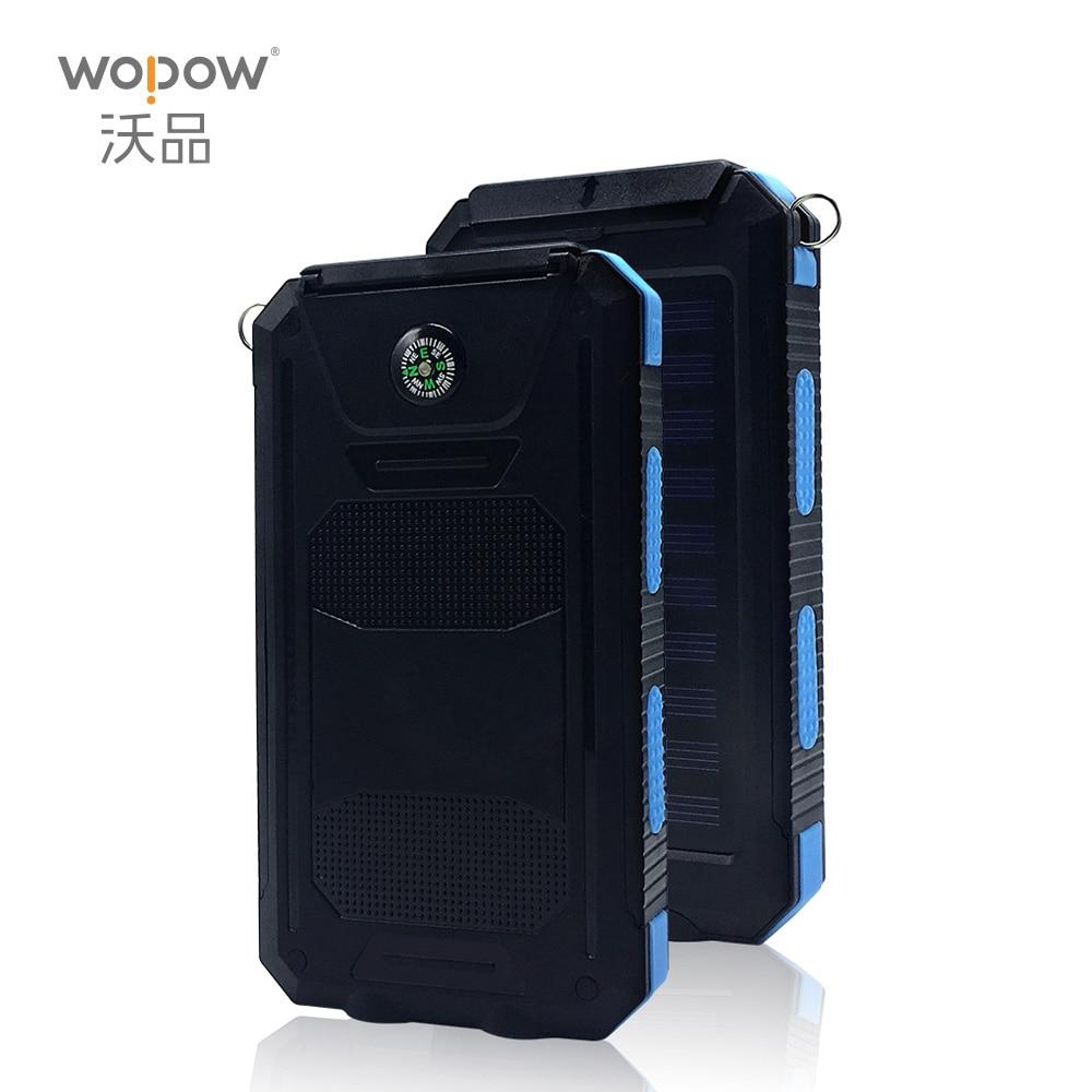WOPOW NEW Waterproof <font><b>Solar</b></font> Power Bank 10000mah Dual USB Li-Polymer <font><b>Solar</b></font> Battery Charger Travel Powerbank for all phone