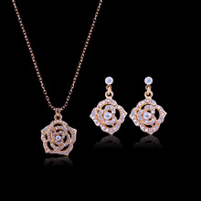New fashion rose necklace earrings  Jewelry sets bride set of ornaments