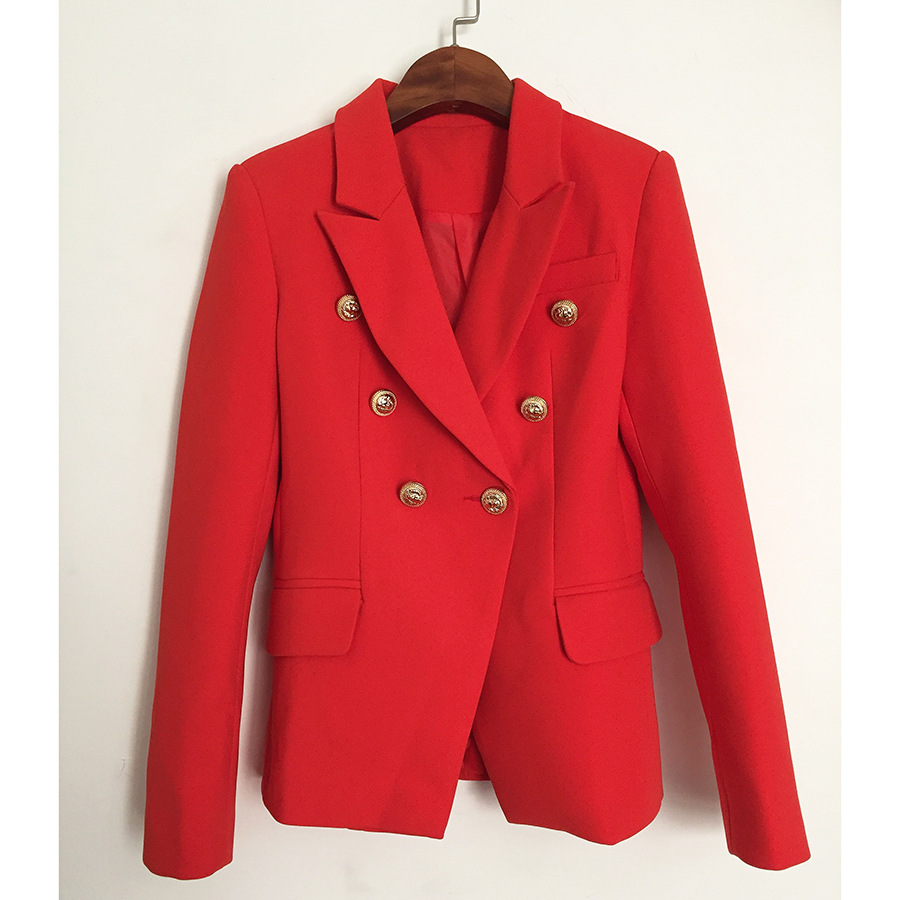 2018 autumn and winter new high quality suit jacket metal lion head buckle double breasted small suit red