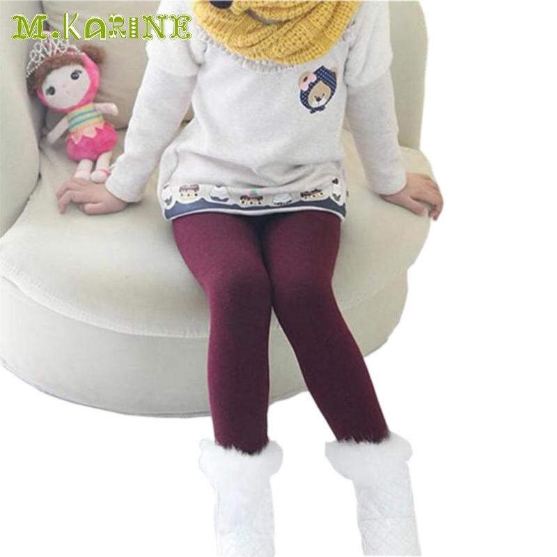 bf4b2c9a57922 Hiver Fourrure Filles Leggings Enfants Pantalons Enfants Épais Chaud  Élastique Taille Leggings Coton Coloré Sans Soudure Filles Pantalon