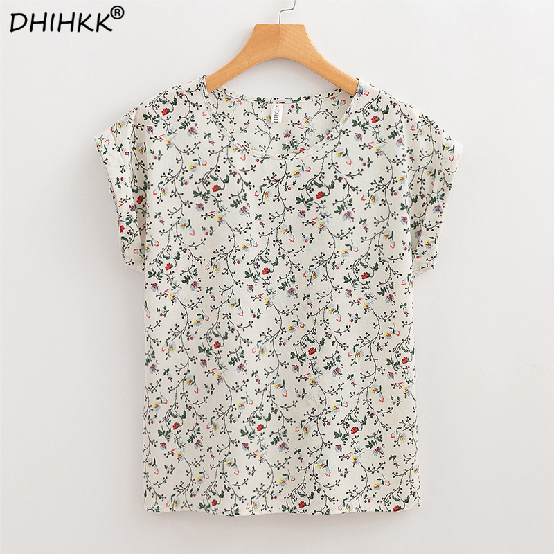 DHIHKK 2018 Summer Women Chiffon   Blouses     Shirts   Floral Print Casual Short Sleeve   Blouse   Fashion Ladies Female Clothing Blusas