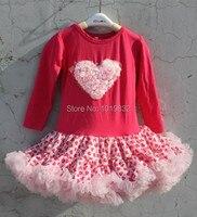 Готово к отправке! Платье для девочки на День Святого Валентина детское хлопковое платье-пачка с длинными рукавами платья для девочек с апп...