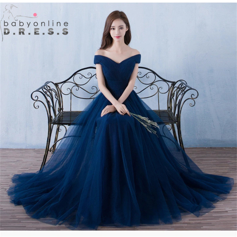 Sexy Boat Neck Off Shoulder   Bridesmaid     Dresses   Customized Tulle Lace Up Back Wedding Party   Dresses   robe demoiselle d'honneur