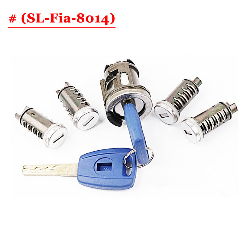 New Replacement Car Door Lock Cylinder SIP22 Blade Full Lock Set with 5 lock for Fia-t SIP22 Blade Lock Barrel Cylinder fia deluxe