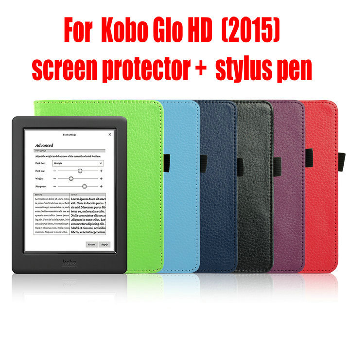 US $68 0 |Kobo Glo HD Protective Case,Leather Smart Cover Case funda for  Kobo Glo HD (2015) with Auto Wake Sleep 10PCS stylus+FILM-in Tablets &