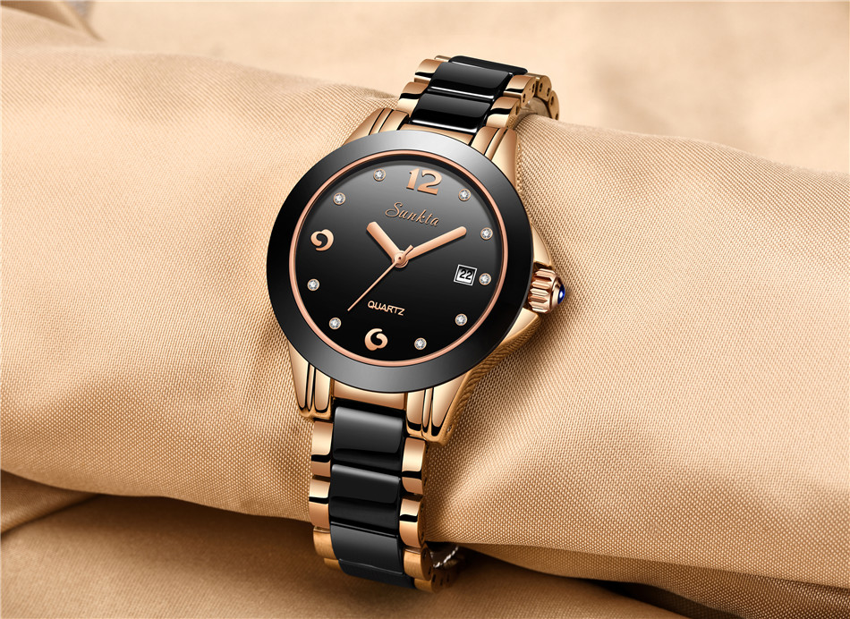 Sunkta quartzo relógios femininos cerâmica relógios de