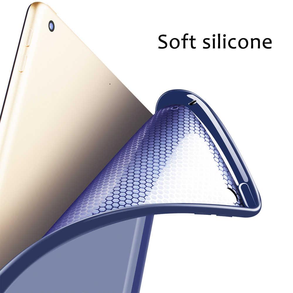 """Caso para el nuevo iPad 9,7 pulgadas 2017 de 2018 liberación parte inferior de silicona suave + cubierta inteligente de cuero PU Auto Sleep para nuevo iPad 9,7"""""""